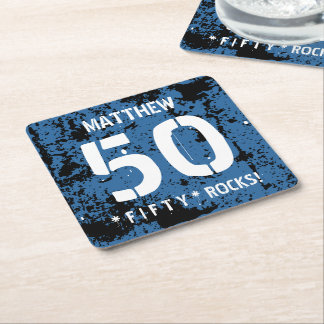 50th Birthday Fifty Rocks BLUE Grunge Pattern F50Z Square Paper Coaster