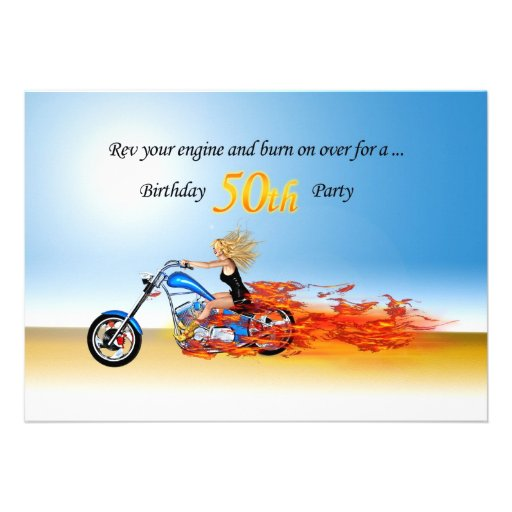50th birthday Flaming motorcycle party invitation