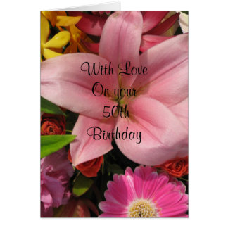 50th Birthday Floral Bouquet  Card