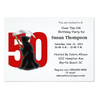 50th Birthday Funny Grim Reaper 13 Cm X 18 Cm Invitation Card