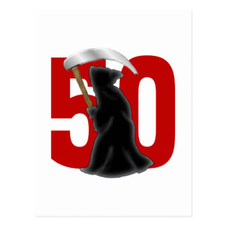 50th Birthday Funny Grim Reaper Postcard