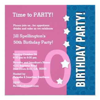 50th Birthday Funny NOT Over the Hill Z50C 13 Cm X 13 Cm Square Invitation Card