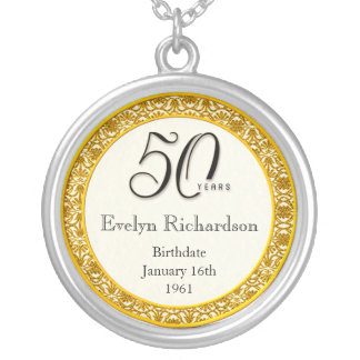 50th Birthday Gift - Vintage Gold Lace Pendant