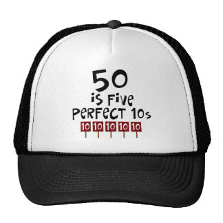 50th birthday gifts, 50 is 5 perfect 10s! cap
