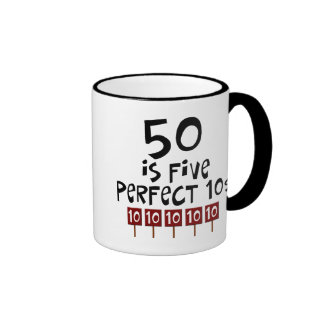 50th birthday gifts, 50 is 5 perfect 10s! coffee mugs