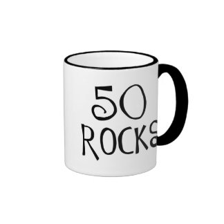 50th birthday gifts, 50 ROCKS Ringer Mug