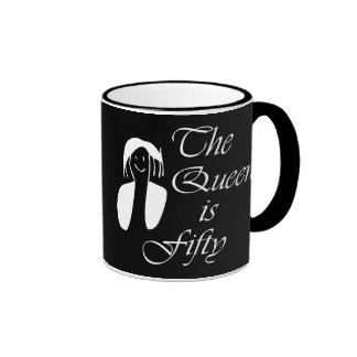 50th birthday gifts, The Queen is 50 - portrait Ringer Mug