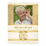 50th Birthday - Gold Damask Photo Invitation