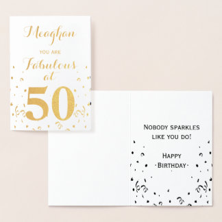 50th Birthday Gold Foil Fabulous at 50 Foil Card