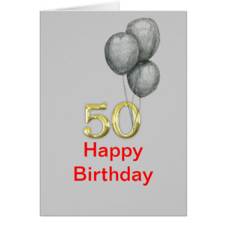 50th Birthday Gold Numbers Balloons Blank Cards