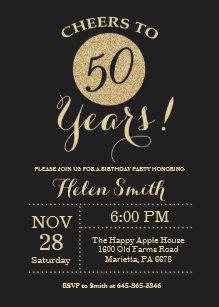 50th Birthday Invitation Black And Gold Glitter