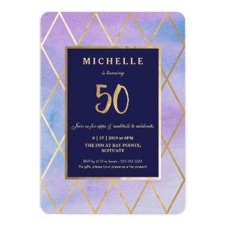 50th Birthday Invitation - Gold, Elegant, Fifty