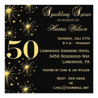 """50th Birthday Invitations 5.25"""" Square Invitation Card"""