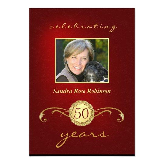 50th Birthday Invitations - Red & Gold Monogram