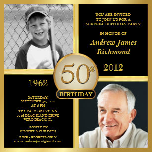 50th birthday invitations zazzle 50th birthday invitations then now 2 photos stopboris Images