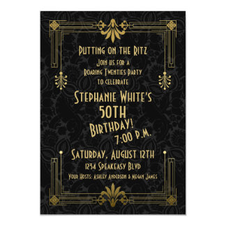 50th Birthday Invite Roaring 20s Twenties Art Deco