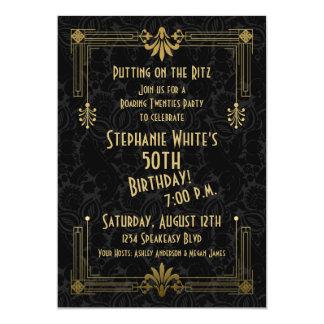 "50th Birthday Invite Roaring 20s Twenties Art Deco 5"" X 7"" Invitation Card"