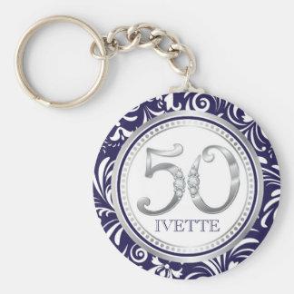 50th Birthday Key Chain-Navy Blue & Silver Key Ring