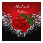 50th Birthday Lace Black Silver Deep RED Rose Personalized Invites