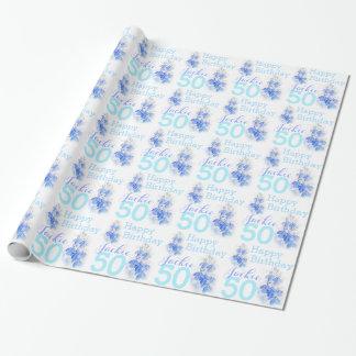 50th birthday Lobelia blue named gift wrap