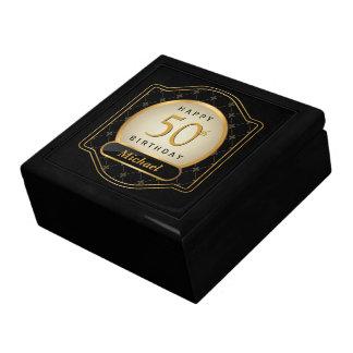 50th Birthday Mens Regency Gold Black Gift Box