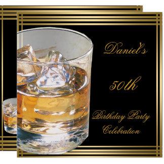 50th Birthday Mens Sepia Gold Cold Drinks Man Card