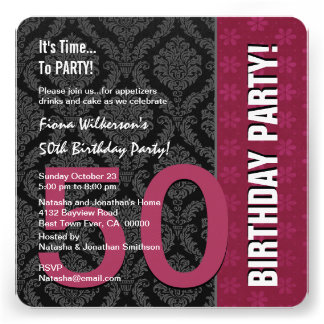 50th Birthday Modern Color Maroon and Black V04 Personalized Invites