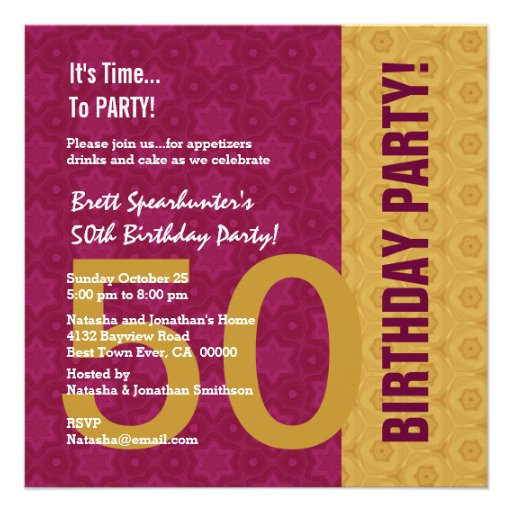 50th Birthday Modern Gold and Maroon Funny D848H2 Personalized Announcements