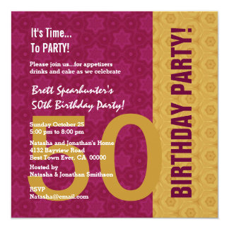 50th Birthday Modern Gold and Maroon Funny D848H2 5.25x5.25 Square Paper Invitation Card