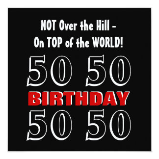 50th Birthday Modern Red Silver Black Funny W1027 13 Cm X 13 Cm Square Invitation Card