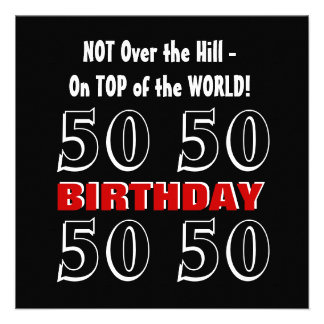 50th Birthday Modern Red Silver Black Funny Y161 Personalized Invite