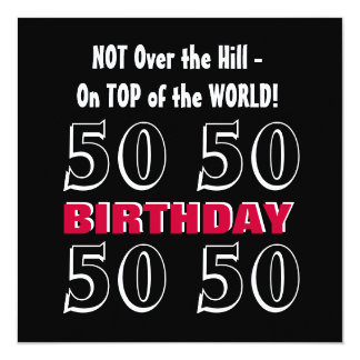 50th Birthday Modern Red Silver Black Funny Y168 Personalized Invites