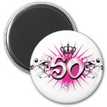 50th birthday or anniversary 6 cm round magnet