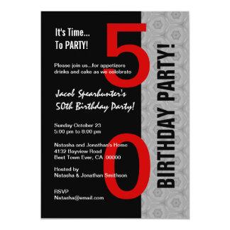 50th Birthday Part Modern Red Silver Black W1792 13 Cm X 18 Cm Invitation Card