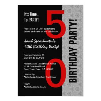 50th Birthday Part Modern Red Silver Black W1792 Custom Invitation