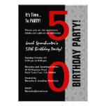 50th Birthday Part Modern Red Silver Black W1792 Personalized Invitation
