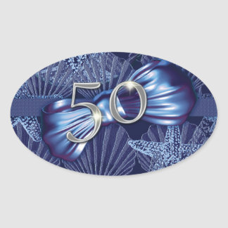50th birthday party beach celebration oval sticker