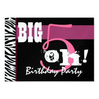 50th Birthday Party - Big 5 Oh Pink Zebra Metallic 13 Cm X 18 Cm Invitation Card