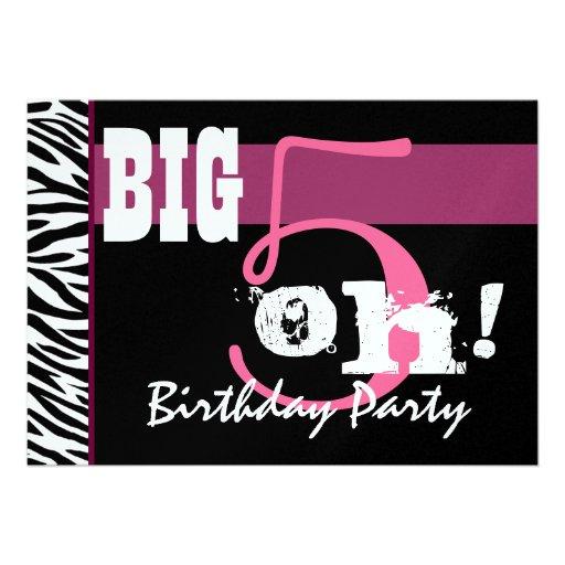 50th Birthday Party - Big 5 Oh Pink Zebra Metallic Invitations