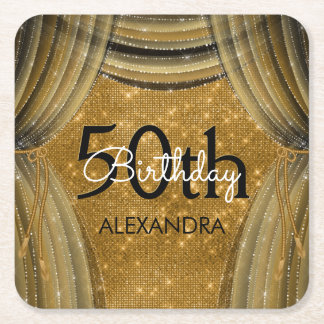 50th Birthday Party Black and Gold Sparkle Square Paper Coaster