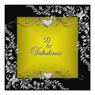 50th Birthday Party Black Bright Chartreuse Gold Card