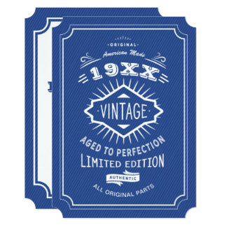 50th Birthday Party Blue and White Limited Edition Card