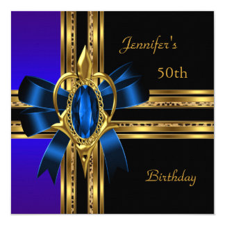 50th Birthday Party Blue Gold Heart Jewel 13 Cm X 13 Cm Square Invitation Card