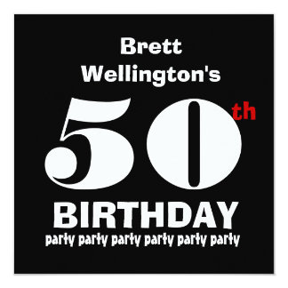 50th Birthday Party Custom Name Black White W819 Card