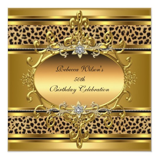 50th Birthday Party Elegant Gold Black Leopard 4 Card