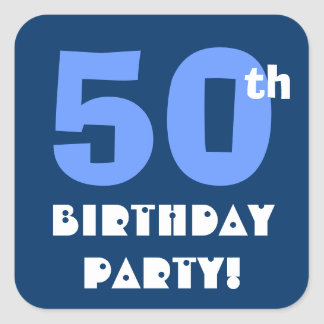 50th Birthday Party Envelope Seal Square Sticker