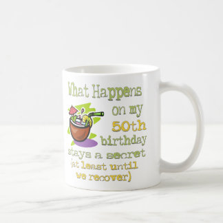 50th Birthday Party Gifts. What happens on my 50th Mug