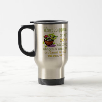 50th Birthday Party Gifts. What happens on my 50th Stainless Steel Travel Mug