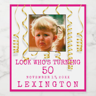 50th Birthday Party Girl With Photo Select Colors Wine Label