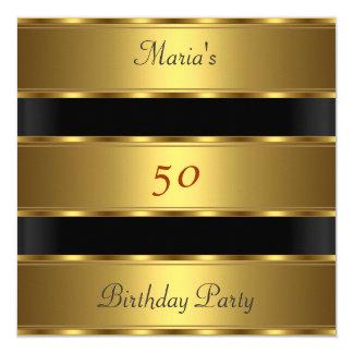 50th birthday Party Gold Black 13 Cm X 13 Cm Square Invitation Card